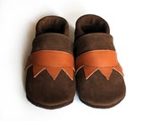 Leather Baby Booties, Baby Shoes, Brown Infant Newborn Nursery Children 21 - Hopphopp
