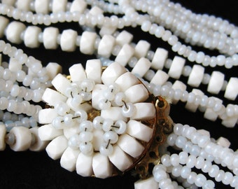 Vintage 40s Signed Eugene White Milk Glass Multi Strand Necklace