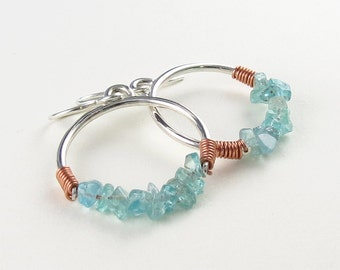 Sterling Silver, Copper, and Apatite Dangle Earrings