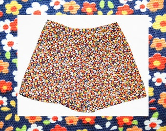 Girls Size 6 Skirt - Happy Hippie Orange Mini Daisy Print Girl's Culotte Skirt - Summer Floral Cotton - Wrap Style - Waist 22 - 42038