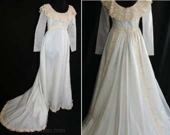 Size 8 Bridal Gown - Charming Empire Wedding Gown with Antique Inspiration - Medium Wedding Dress With Train - Bust 35 - Waist 29 - 30700-1