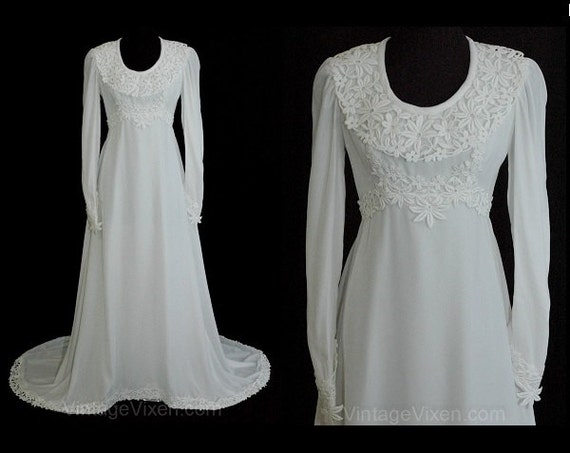 White velvet vintage wedding gown with lace trim by for Velvet and lace wedding dresses