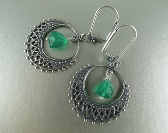 Hoop and Dangle Earrings, Silver Filigree Hoop Frames Trillion Cut Green Onyx, 1.75 inches (4.75 cm)
