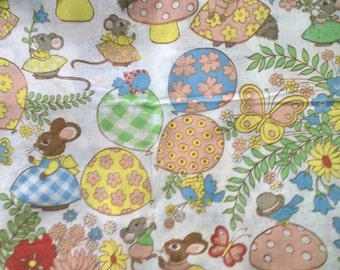 Adorable Forest Creatures Polyester Cotton Blend Fabric By the Yard X0317