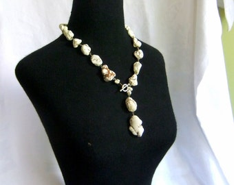 White Magnesite or Howlite Super Chunky Statement Necklace - nuggets, toggle closure, white turquoise