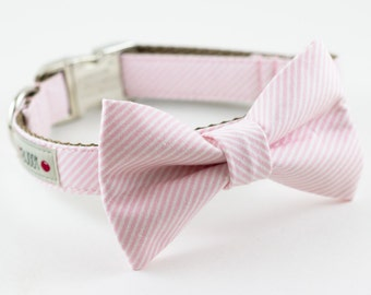 Light Pink Stripes Bowtie Dog Collar