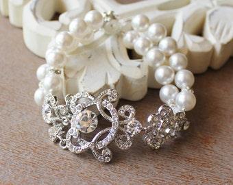 Ivory Pearl & Crystal Bridal Cuff, Vintage Wedding Bridal Bracelet, Bridal Jewelry,  LONDON
