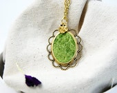 Grassy Pendant Light Green Pendant Wool Silk Pendant Oval Pendant Mothers Day Gift