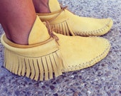 Adult Tan Leather Fringe Moccasins Made to Order