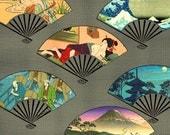 Digital Collage Sheet, 1.5 Inch  Asian Fans, Asian Art,  Digital Art,  Japanese, Embellishments,  Scrapbooking, Pendants,  CS 138