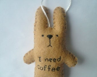 I need coffee - funny felt ornament tree decoration christmas gifts under 20