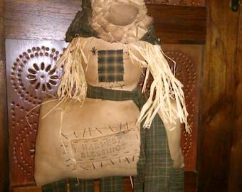 Extreme primitive scarecrow door hanger