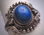 Antique Victorian Lapis Ring Etruscan Revival Silver c.1900