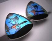 Antique Butterfly Wing Earrings Vintage Hawaiian Estate
