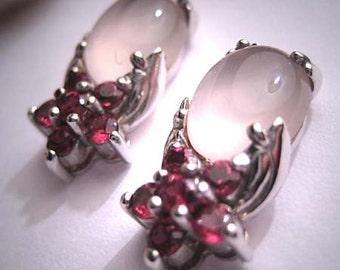 Antique Moonstone Ruby Earrings Vintage Art Deco Retro