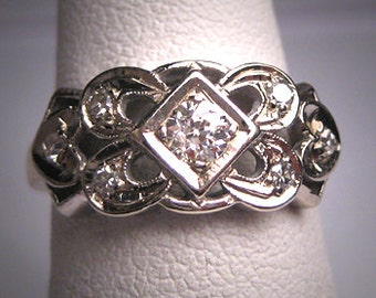 Antique Diamond Wedding Ring Vintage Art Deco Band 14K Engagement 1920 Sentimental Heart