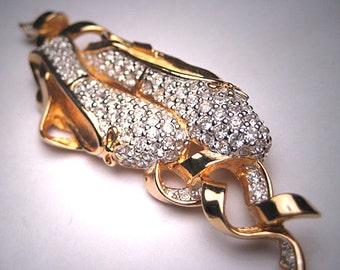 Vintage Swarovski Crystal Ballet Slippers Brooch Pin