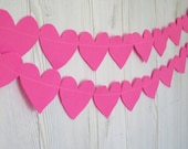 Christmas baby Garland - Pink felt heart garland , Love decoration- birthday decor - Party decorations - Christmas decorations - birthday