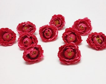 Silk Flowers - 10 Artificial Mini Ranunculus in DARK PINK - 1.5 Inches - Artificial Flowers