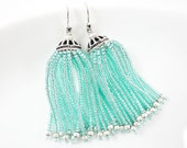 Aqua Beaded Tassel Dangly Statement Earrings - Sterling Silver Earwire