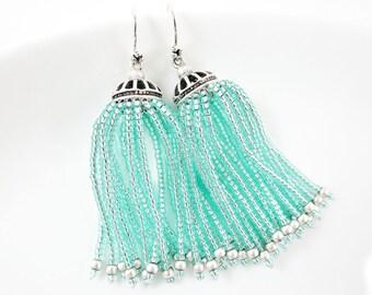 Aqua Beaded Tassel Dangly Statement Earrings - Sterling Silver Earwire