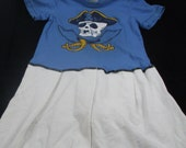 Pirate Skull Girls Dress Summer Clearance Recycled Tshirt size 3 Pink Purple Children Pirate Upcycled Clothing Boho Kids Patchwork Fairy