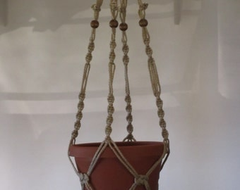 Macrame Plant Hanger 40 inch Button Knot BEADS - 4mm Sand