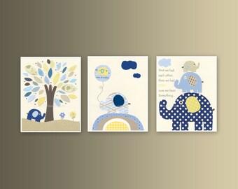 Baby boy, Nursery wall Decor, Children Art print, navy, tan, yellow, light blue, tree, set of 3 8x10...match Harper bedding, kids room art