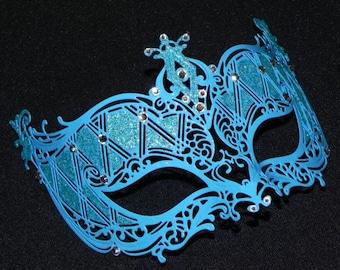 Turquoise Metal Masquerade Mask
