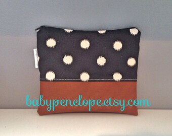 Clearance*** Black and White Polka Dots  FAUX Leather  Clutch- Ready to Ship