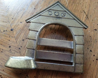 Vintage JJ Bronze Tone Metal Dog House Doghouse Brooch Pin 1980s