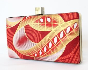 African fabric clutch bag, Box clutch purse - red gold and white