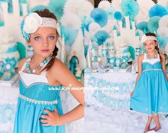 Frozen Elsa Twirl Dress,  Elsa's Blue Winter Dress inspired by Disney's Queen Elsa, sizes 2T-8girls