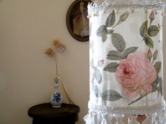 Floral table lamp, Shabby chic drum lampshade, Living room lighting , Lamp decor made from fabric with roses , Rustic lamp