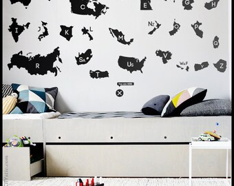 New GEOGRAPHY WALL DECAL : World Country Names alphabet with each first letters, Usa, Canada, Australia, Africa, Asia, France. Map sticker