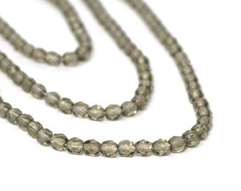 Grey Czech Glass Beads, 4mm smoke gray, Full Bead Strand (1005F)