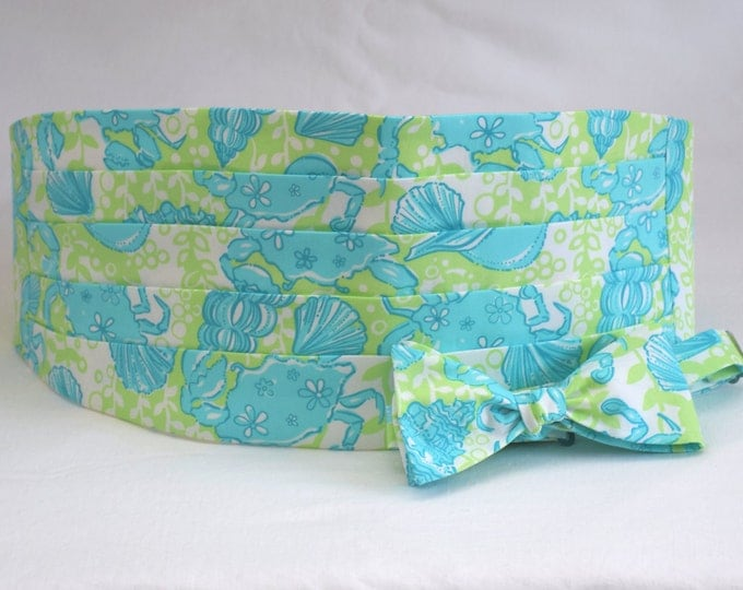 Cummerbund & Bow Tie, lime/aqua Palm Green Chillin' Lilly ocean print, formal wedding party wear, tuxedo accessory, prom cummerbund,