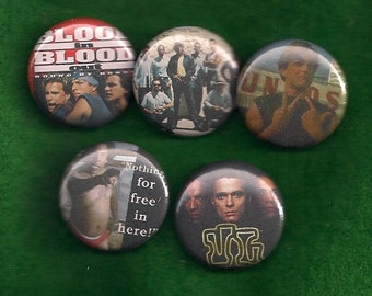 """BLOOD in BLOOD OUT 1"""" Pins Buttons Badges Set of 5 vatos locos bound by honor Cult Film 80s 1 inch pinbacks"""