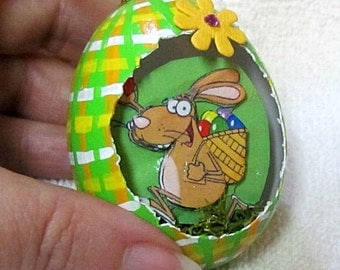 Egg, chicken egg, 3D, Easter, Edwin the Rabbit Eggcettera- Real chicken egg with cute 3D scene inside