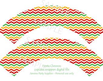 Mexican fiesta party chevron cupcake wrappers instant download digital file - DIY