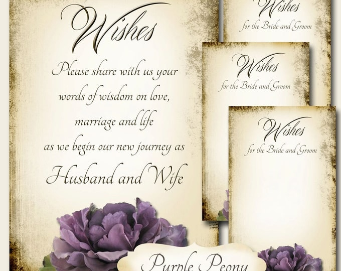 PURPLE PEONY Set of Wedding Wish Sign and Tags, Wish Tree Cards, Printable,DIY Weddings, Bridal Shower, Wedding Shower, Wedding Decoration
