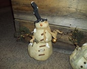 Primitive -Snowy- The Snowman- With Winter Berries, Drieds And A Bell