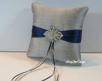 Wedding Ring Pillow -Platinum and Navy - Custom made in your colors