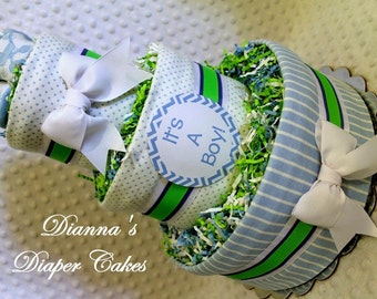Baby Diaper Cake Boys Shower Gift Centerpiece