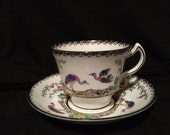 Melba English China Tea Cup - Hand Painted - Birds - Flowers - Wedding Table Setting