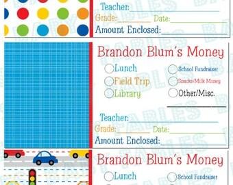 Personalized School Money Stickers, Set of 20, Teacher Notes, Lunch Money, Field Trip Money, Library Money, Kindergarten note, Teacher Note