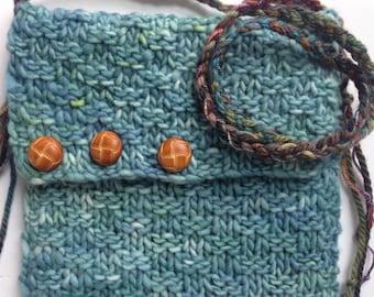 Teal Shoulder Bag Hand Knit