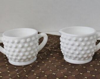 Vintage Hobnail Milk Glass Cream and Open Sugar bowl