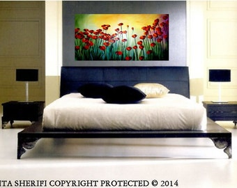 X large 4 foot long Poppies in SPRING  Moonlight ..Fantasy  original oil painting.  Wall art room decor,