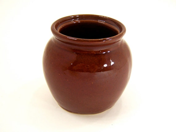 Vintage pottery crock bean pot, housewares, home decor, small vase, desk organizer, gift container, chocolate brown, single serving size